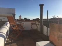 Rooftop terrace of our apartment in Evora