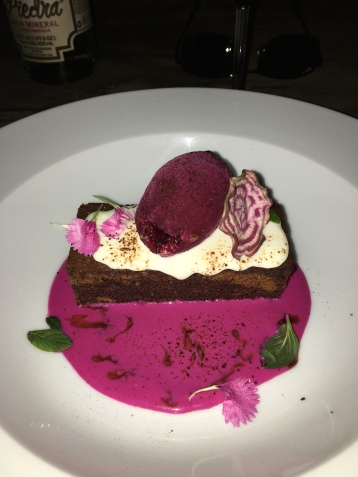 Chocolate cake with beet sorbet