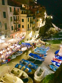 Evening vew of the Riomaggiore marina