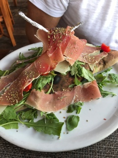 This is a giant calzone from Lido Peter Pan beach cafe
