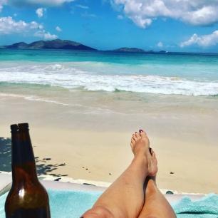 Enjoying the beach at Sebastian's in Tortola