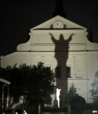 Behind St. Louis Cathedral at night