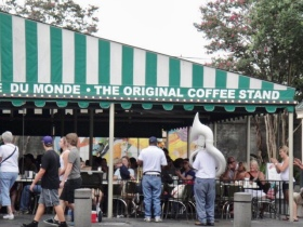 Famous striped awning of Cafe Du Monde