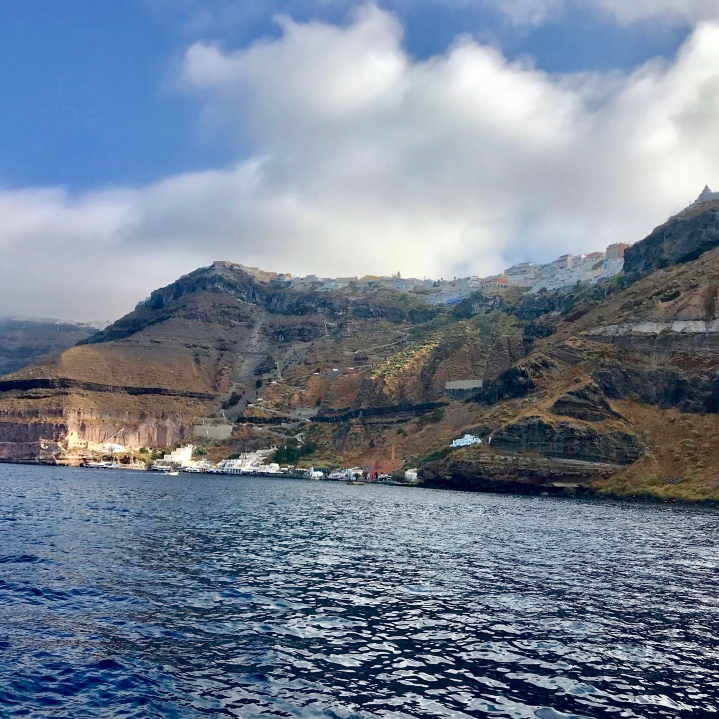 Moored in the caldera , waiting for our tender