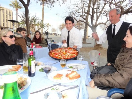 Paella on the beach in Barcelona
