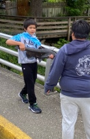 Child catching salmon with his hands from the stream