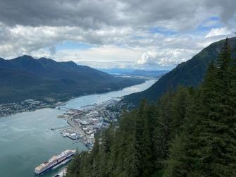 Taking the gondola in Juneau