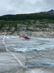 Landing on the Mead Glacier